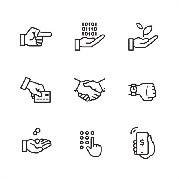 Business Gesture - Pixel Perfect outline icons Business Gesture theme related outline vector icon set.  CONTENT BY ROWS  First row of icons contains: Pointing Hand, Computing in Hand, Sprout in Hand;  Second row contains: Credit card on hand, Handshake, Watch on hand;   Third row contains: Coins in Hand, Code entering Hand, Mobile Payment.   9 Outline style black and white icons / Set #28 Pixel Perfect Principle - all the icons are designed in 64x64 px grid, outline stroke 2 px.  Complete Outline 3x3 PRO collection - https://www.istockphoto.com/collaboration/boards/hyo8kGplAEWxASfzDWET0Q banking silhouettes stock illustrations