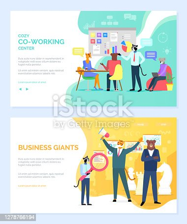 istock Business Giants and Cozy Coworking Center Working 1278766194