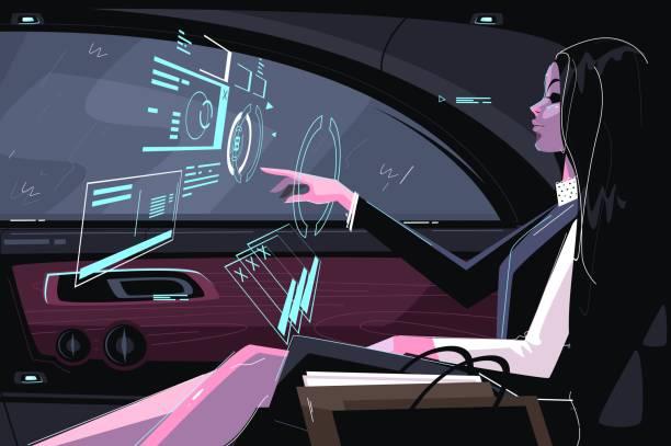 ilustrações de stock, clip art, desenhos animados e ícones de business girl in car - business woman hologram