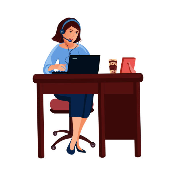 business-mädchen sitzen und arbeiten auf laptop-vektor-illustration - junge frau allein stock-grafiken, -clipart, -cartoons und -symbole