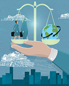 Vector Illustration of a Business global scale concept. Images include scale held by a stylized hand balancing business man and woman with world.  Buildings in the background with blue sky. Determination, Includes Illustrator EPS 10.  Corporate business, balance,  willful, business attire,  strength and perserverance, looking, solutions, inquisitive. Getting ahead and goal driven, business growth.