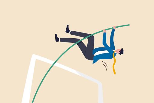 Business goal achievement, success solving business problem or succeed survive on financial crisis concept, successful confident businessman leader jumping pole vault.