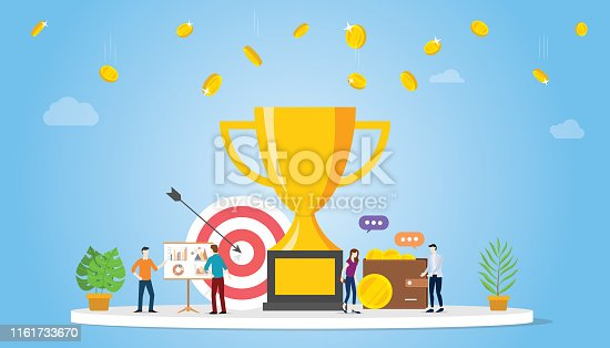 business goal achivement company concept with big golden trophy and team people with money and graph chart - vector illustration