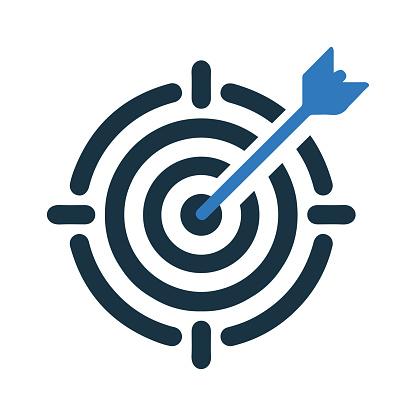 Business goal, dart board, target icon