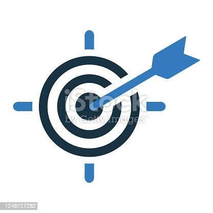 istock Business goal or target icon, dart board 1248727282