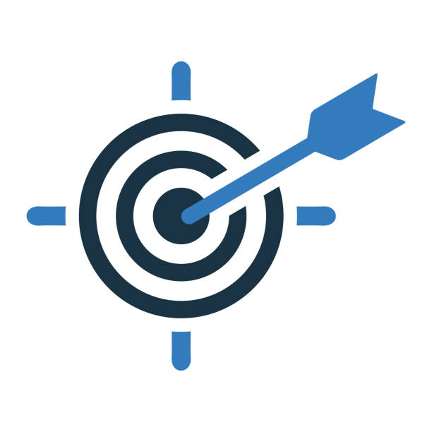 Business goal or target icon, dart board Beautiful, meticulously designed Business goal or target icon, dart board. Well organized and fully editable Vector icon for vector stock and many other purposes. blue symbols stock illustrations
