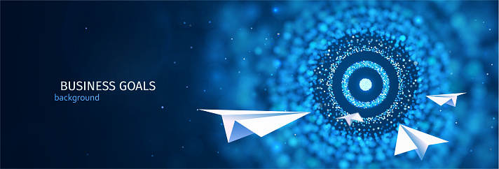 Business goal solution concept. Paper planes flies to the  abstract target vector web banner. ESP 10