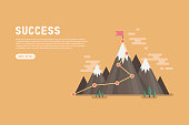 Business goal success concept infographic. Flag on the top of mountain. vector