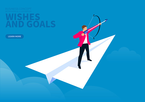 Business goals and wishes, businessman standing on paper plane archery