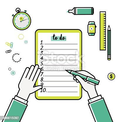 istock Business goals checklist. Vector flat linear icon. To do list 496615092