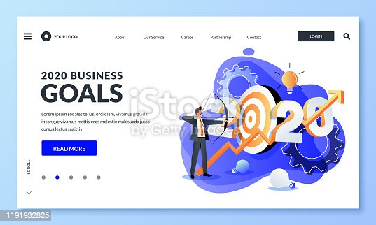 Business goals, investment strategy, income growth in new 2020 year. Vector flat cartoon illustration of businessman shoots target with bow and growing graph. Web landing page, banner design template