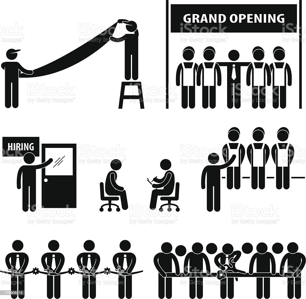 Business Grand Opening Stick Figure Pictogram royalty-free business grand opening stick figure pictogram stock vector art & more images of adult