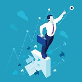 Data scientist man business concept 3D isometric flat illustration blue background or backdrop EPS 10 JPG JPEG. Creative People Collection