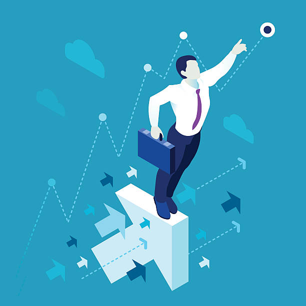 Business Graph 01 People Isometric Data scientist man business concept 3D isometric flat illustration blue background or backdrop EPS 10 JPG JPEG. Creative People Collection high up stock illustrations