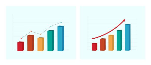 geschäftsdiagramm und diagramm. erfolgreiches konzept. vektor-illustration - messlatte stock-grafiken, -clipart, -cartoons und -symbole