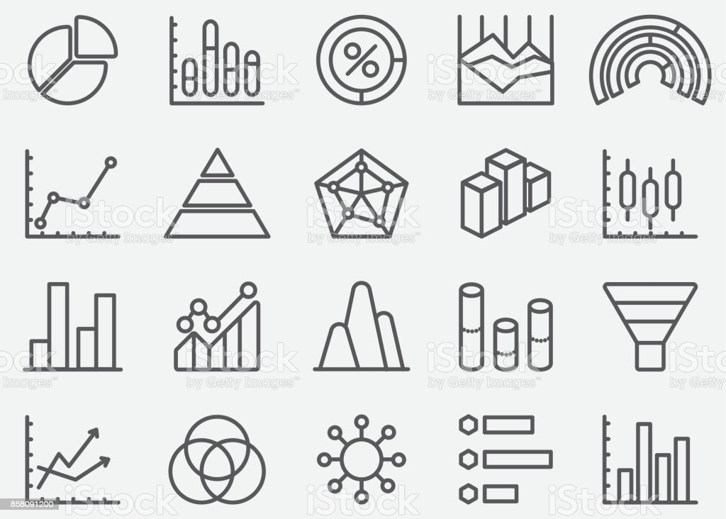 Business Graph and Diagram Line Icons vector art illustration