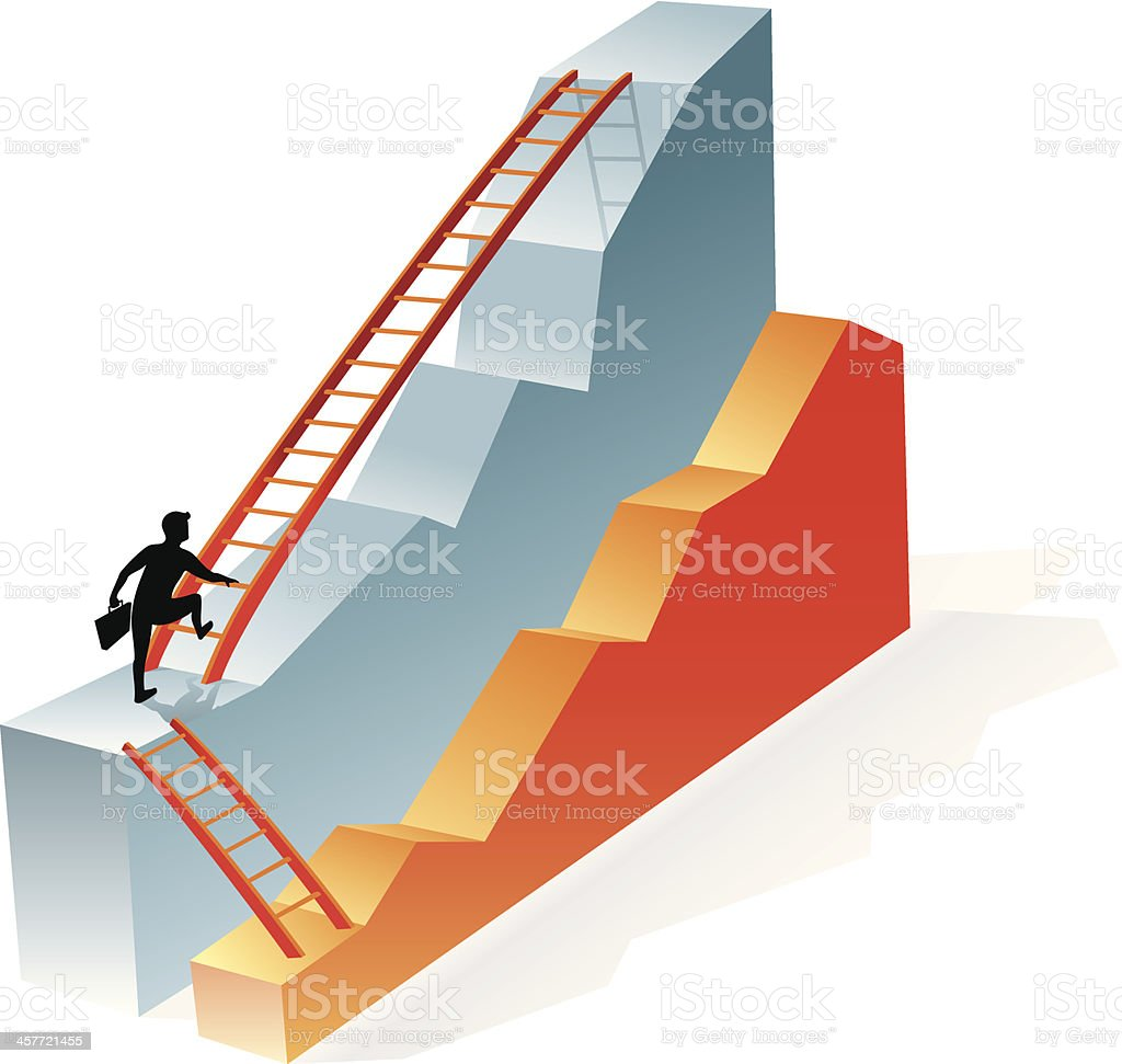 Business Graph and Ladder vector art illustration