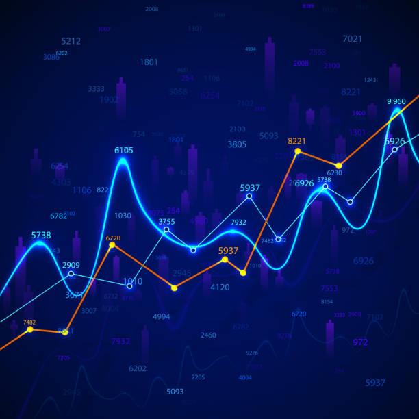 stockillustraties, clipart, cartoons en iconen met grafiek en diagram voor bedrijfsgrafieken. financieel onderzoek en datamonitoring. marktanalyse en successtatistiek. vectorillustratie - non profit