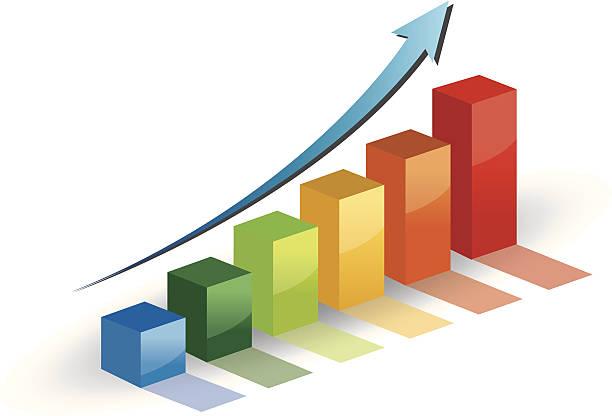 business-diagramm wachstum fortschritt und blauer pfeil. - messlatte stock-grafiken, -clipart, -cartoons und -symbole