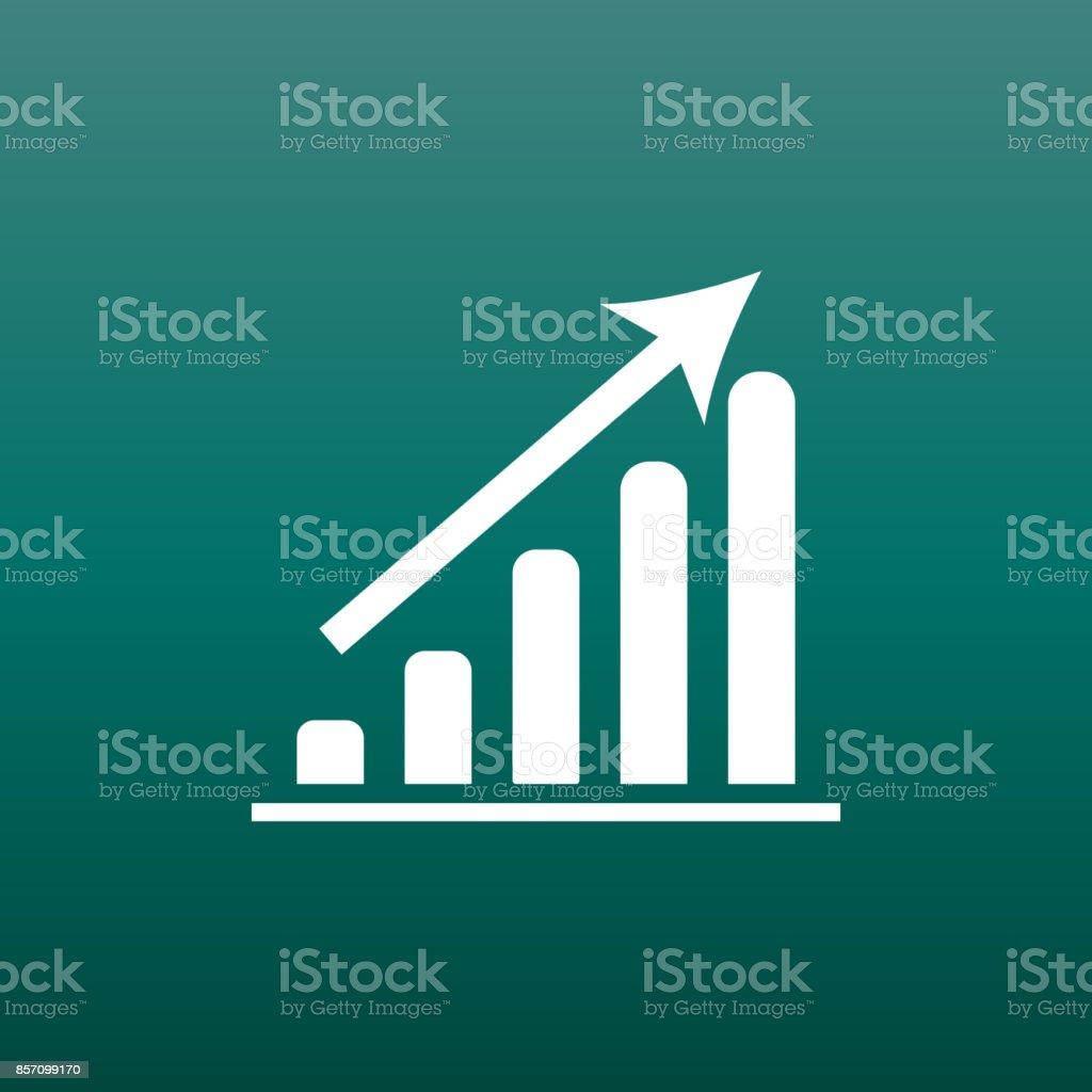 Business-Grafik-Symbol. Diagramm-flache Vektor-Illustration auf grünem Hintergrund. – Vektorgrafik