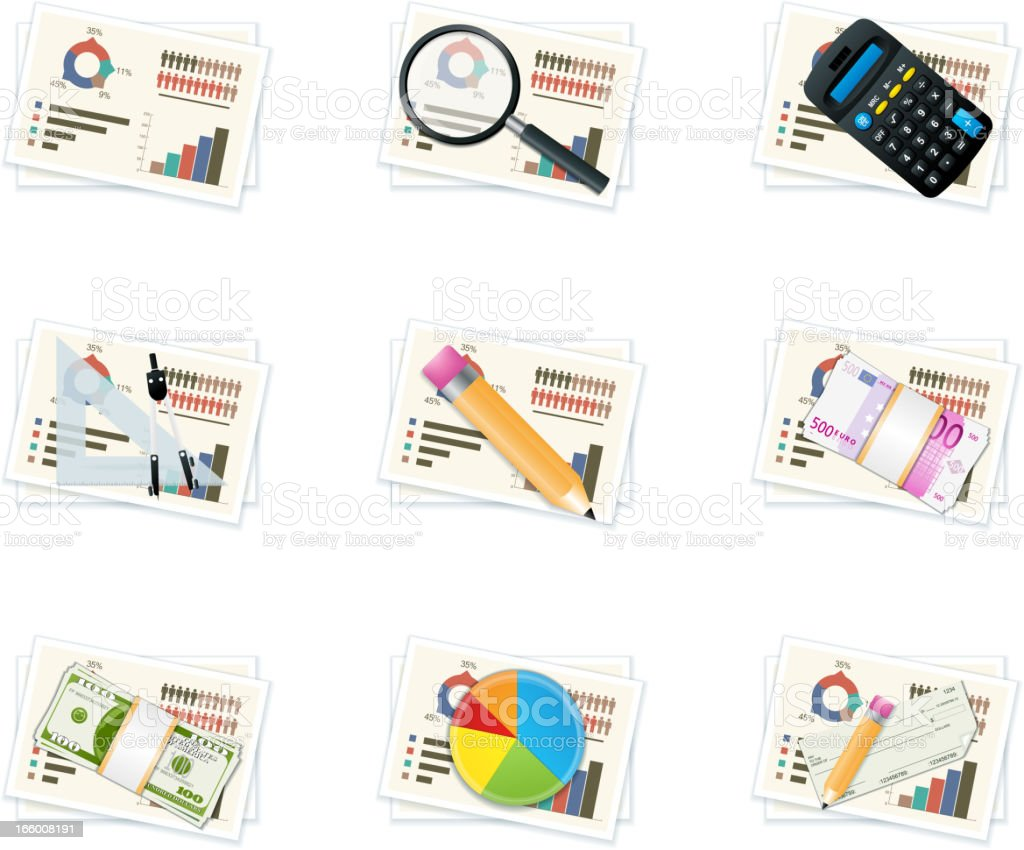 Business graph icons royalty-free stock vector art