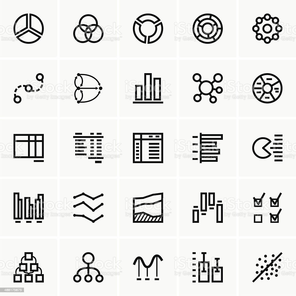 Business graph icons vector art illustration