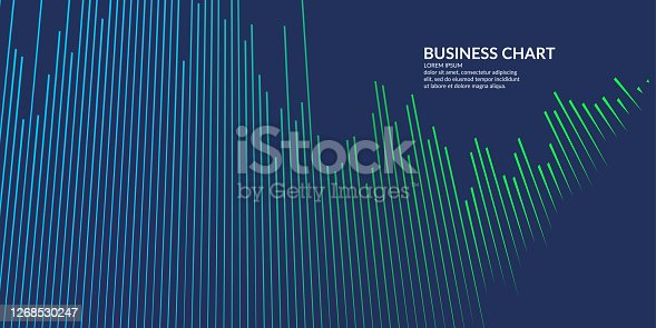 istock Business graph on a white background. Chart analysts of growth and falling profits. 1268530247