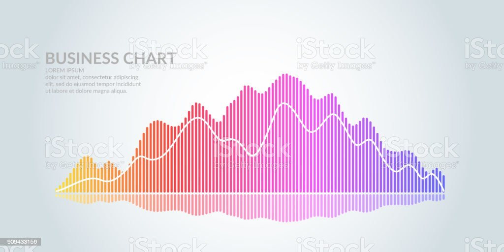 Business graph on a white background. Chart analysts of growth and falling profits vector art illustration