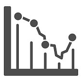 Business graph solid icon, business concept, Statistic finance chart sign on white background, Analytics infographic icon in glyph style for mobile concept and web design. Vector graphics