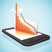 Good business results projected as line chart by a mobile phone floating on the sky.