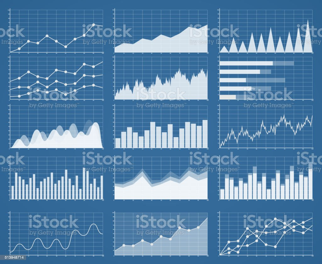 Business graphics and charts set. Analysis and management vector art illustration