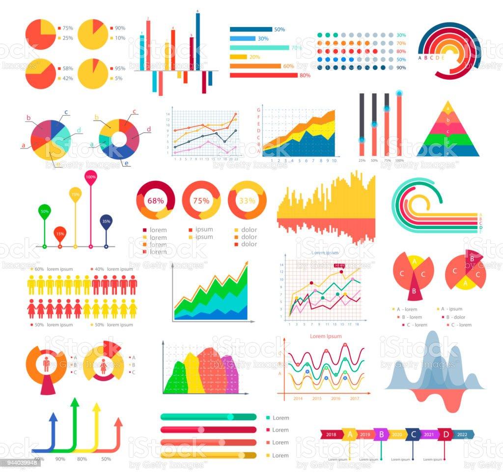 Tableaux et graphiques de l'entreprise - Illustration vectorielle