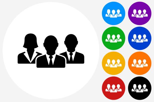 ilustraciones, imágenes clip art, dibujos animados e iconos de stock de business group icon on flat color circle buttons - gente de negocios