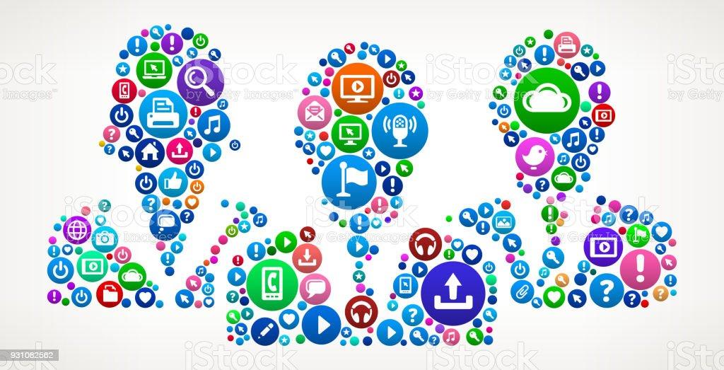 Business Group Internet Communication Technology Icon Pattern vector art illustration