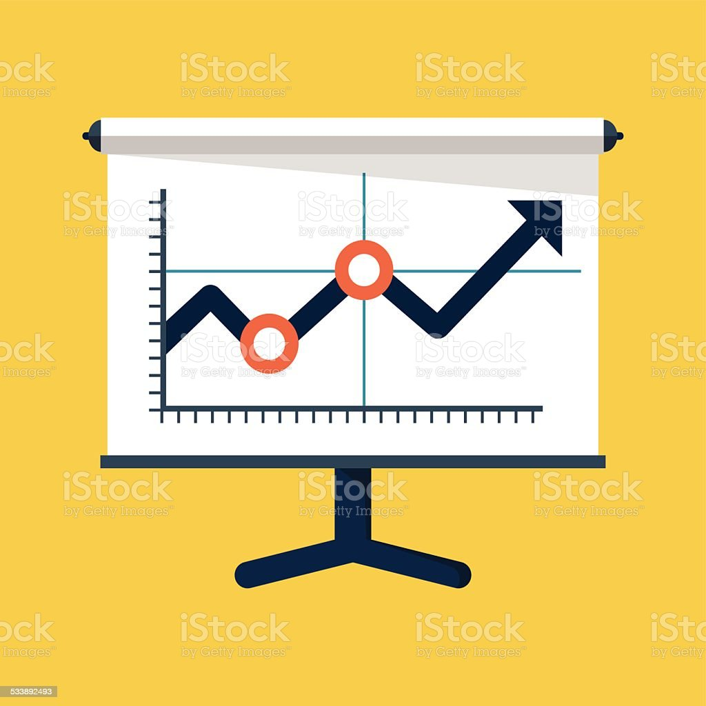 Business Growing Chart Presentation Icon vector art illustration