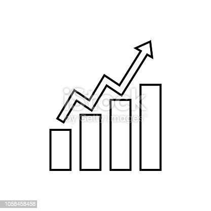 Business growing graph line icon, Infographic, finance and managment vector graphics, a linear pattern on a white background, eps 10.