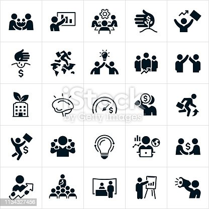 A set of business development and growth icons. The icons include business development, handshake, business people making a deal, business growth, business presentation, growing business, revenue, finances, successful businessman, global business, teamwork, business team, business goals, growth opportunities, business strategy, tradeshow and businessman using a megaphone just to name a few.