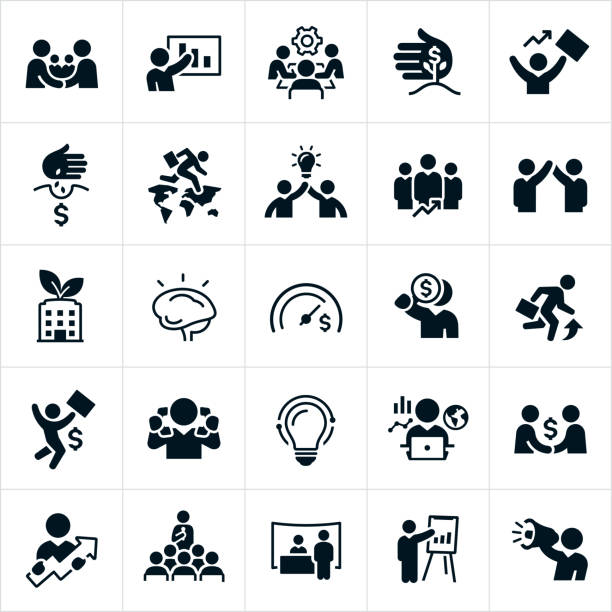 Business Growth And Development Icons A set of business development and growth icons. The icons include business development, handshake, business people making a deal, business growth, business presentation, growing business, revenue, finances, successful businessman, global business, teamwork, business team, business goals, growth opportunities, business strategy, tradeshow and businessman using a megaphone just to name a few. sales occupation stock illustrations