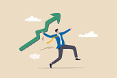 istock Business growth and improvement, target high profit, stock market soaring, bull market or economic prosperity concept, strong businessman throwing green rising up arrow javelin. 1313474568
