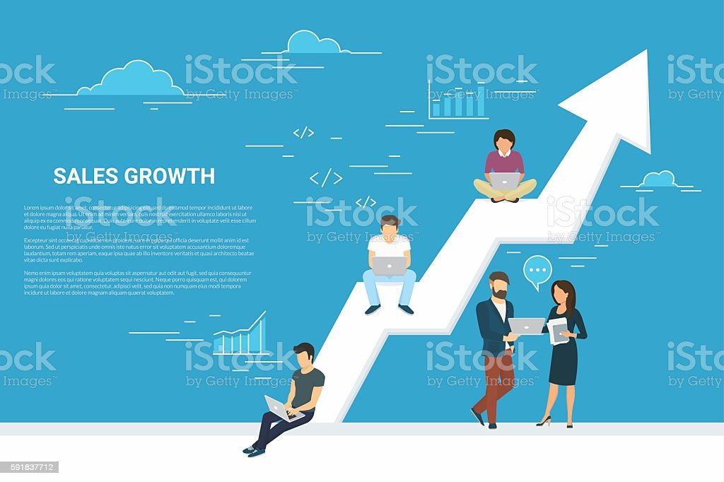 Business growth concept illustration of business people working...
