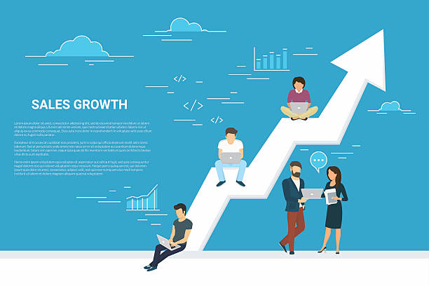 Business growth concept illustration of people working together as team - ilustración de arte vectorial