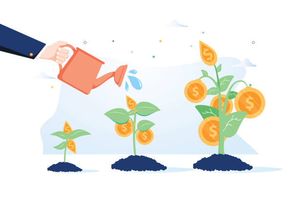 Business growth concept. Vector of a business man hand with pot watering profitable money tree. Business growth concept. Vector of a business man hand with pot watering profitable money tree. Business growth. Attract investitions startup, profit income. Business success investments, finances 401k stock illustrations