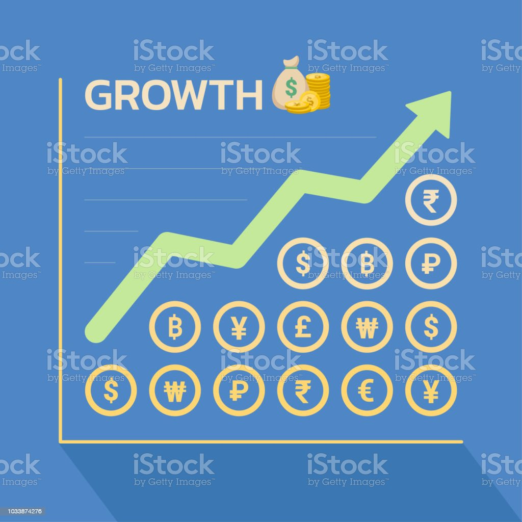 Business Growth Graph With World Currency Symbols Vector Stock