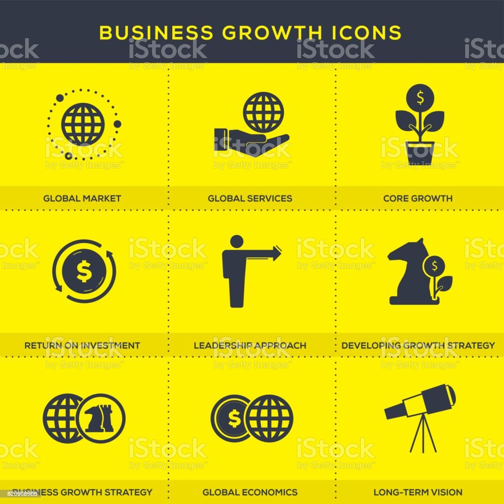 Business Growth Icons Set vector art illustration
