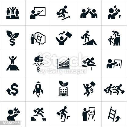 A set icons representing business growth and success. The icons include business people engaged in concepts of growth and success in business.