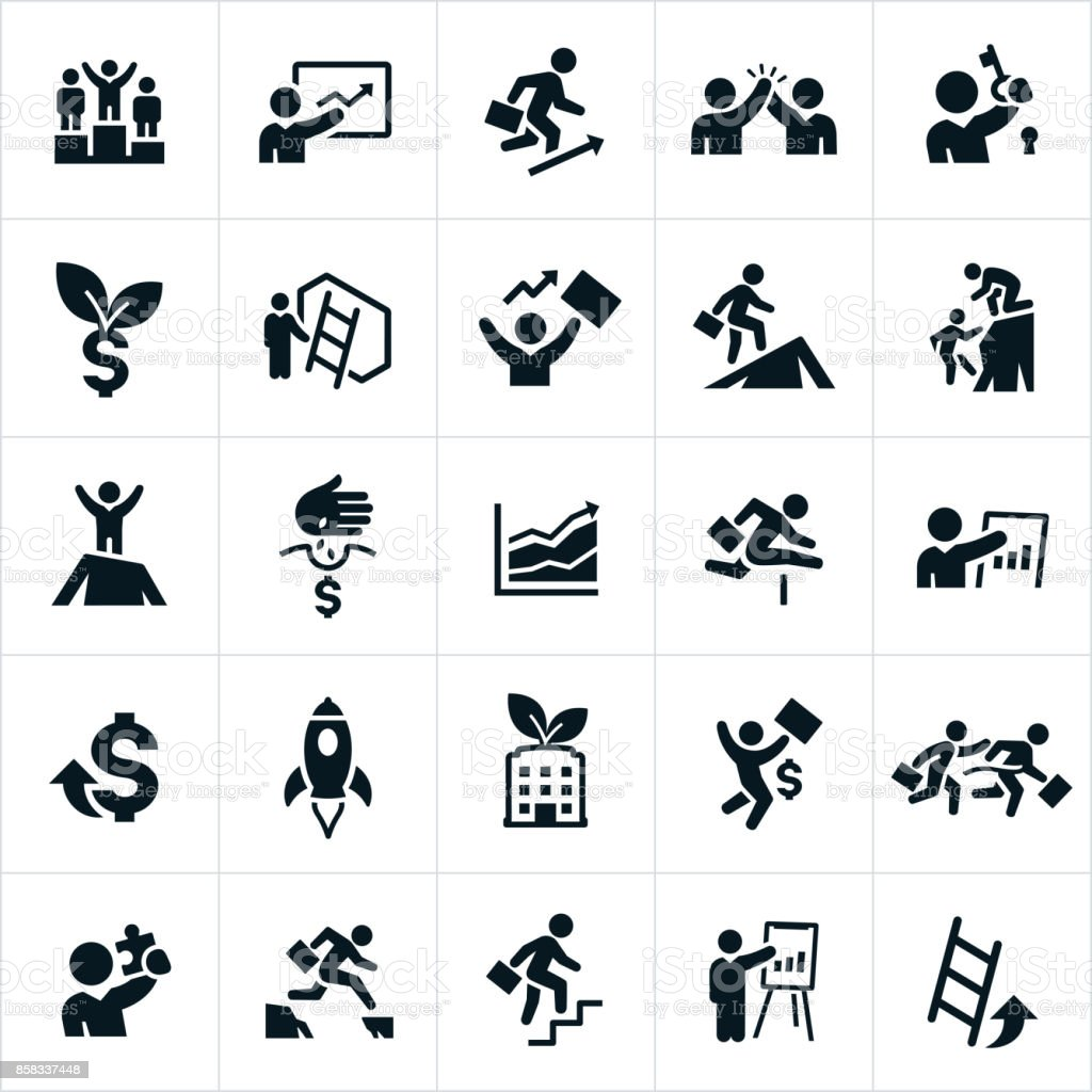Business Growth Icons vector art illustration