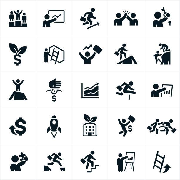 ilustrações, clipart, desenhos animados e ícones de ícones de crescimento de negócios - entrepreneurship