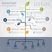 Business growth and growing tree concept infographic with space for your text and extra icons and symbols. EPS 10 file. Transparency effects used on highlight elements.