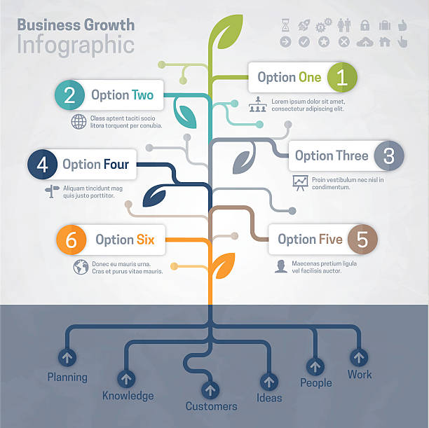 Business Growth Infographic Business growth and growing tree concept infographic with space for your text and extra icons and symbols. EPS 10 file. Transparency effects used on highlight elements. origins stock illustrations