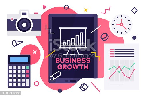 Modern flat design style layout template of business growth. Vector illustration concept for printed materials or website and mobile development projects.